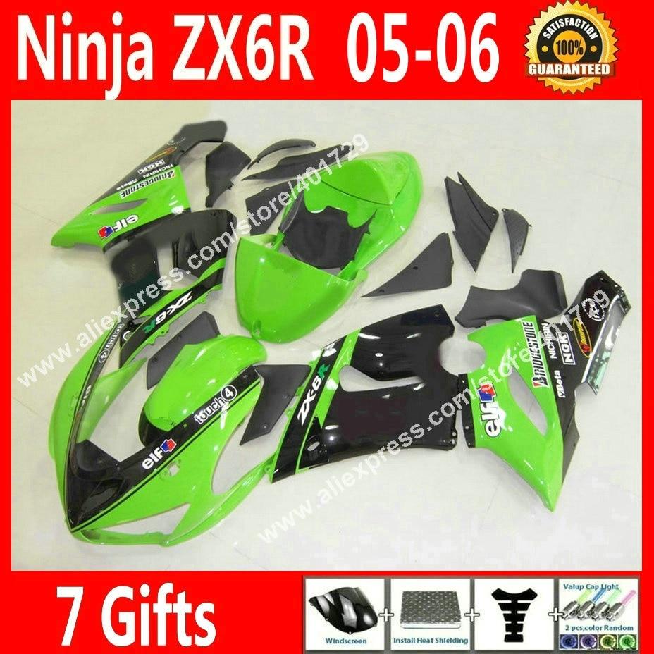 Free custom Fairings for Motorcycle 2005 2006 Kawasaki ZX6R 05 06 grass green black fairing kits