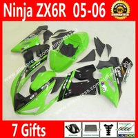 Free custom Fairings for Motorcycle 2005 2006 Kawasaki ZX6R 05 06 grass green black fairing kits GY56