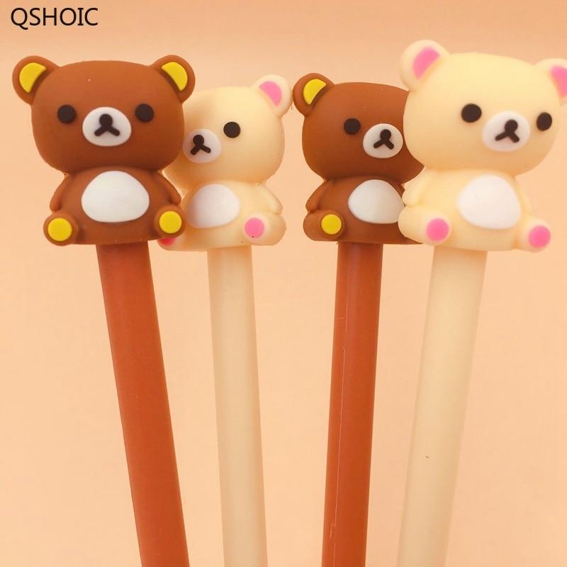 36Pcs/lot Kawaii Wholesale Bear Gel Pen Cute Bear Japanese Stationery 0.5mm Black Ink Pen Kids Gift School Office Supplies