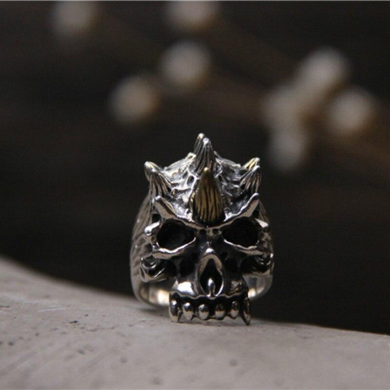 Bague tête de crâne sculptée à la main en argent Sterling 925 Hip Hop sculptée bague pour hommes Biker bijoux en argent