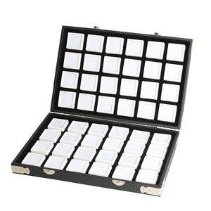 Image 1 - באיכות גבוהה שחור עור חן נסיעות יהלום תיבת אחסון מקרה תכשיטי מחזיק 2.8cm 70pcs,4cm 48pcs בתוך פנינה תיבת Protable