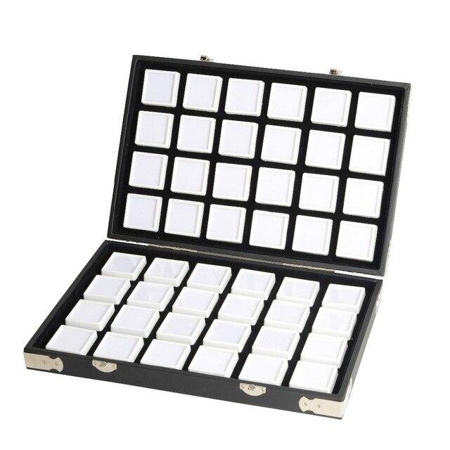 באיכות גבוהה שחור עור חן נסיעות יהלום תיבת אחסון מקרה תכשיטי מחזיק 2.8cm 70pcs,4cm 48pcs בתוך פנינה תיבת Protable