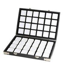 높은 품질 블랙 가죽 보석 여행 상자 다이아몬드 스토리지 케이스 쥬얼리 홀더 2.8cm 70pcs,4cm 48pcs 내부 보석 상자 Protable
