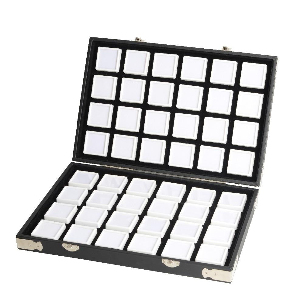 Haute qualité en cuir noir pierre précieuse boîte de voyage diamant mallette de rangement porte-bijoux 2.8cm 70 pièces, 4cm 48 pièces à l'intérieur de la boîte de gemme portable