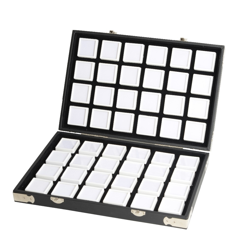 High Quality Black Leather Gemstone Travel Box Diamond Storage Case Jewelry Holder 2.8cm 70pcs,4cm 48pcs Inside Gem Box Protable-in Jewelry Packaging & Display from Jewelry & Accessories