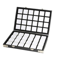 High Quality Black Leather Gemstone Travel Box Diamond Storage Case Jewelry Holder 2.8cm 70pcs,4cm 48pcs Inside Gem Box Protable
