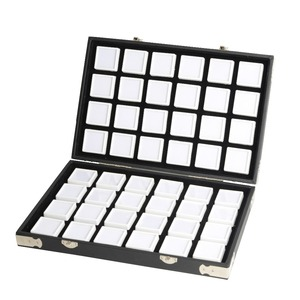 Image 1 - Yüksek kaliteli siyah deri taş seyahat kutusu elmas saklama kutusu takı tutucu 2.8cm 70 adet, 4cm 48 adet içinde mücevher kutusu taşınabilir
