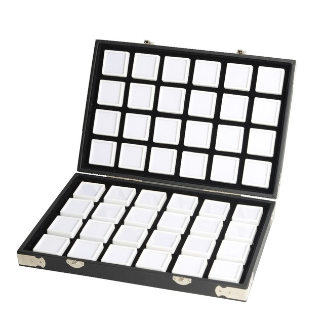 Yüksek kaliteli siyah deri taş seyahat kutusu elmas saklama kutusu takı tutucu 2.8cm 70 adet, 4cm 48 adet içinde mücevher kutusu taşınabilir