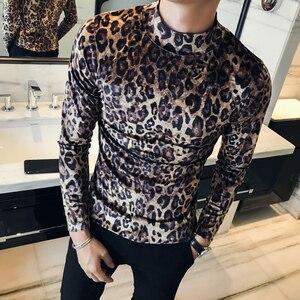 Image 2 - Мужская футболка с длинным рукавом и леопардовым принтом, Осень зима 2020