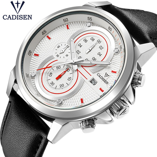 CADISEN Men Watch Brand Luxury Military Quartz Mens Watches Waterproof Leather Wristwatch Sport Male Clock Relogio Masculino oulm mens designer watches luxury watch male quartz watch 3 small dials leather strap wristwatch relogio masculino