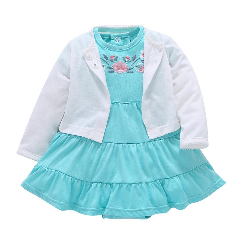 2018 Toddle Girl Clothes Cotton Cardigan Small shawl +Short sleeve floral dress 2PCS Infant Newborn girl clothing Set