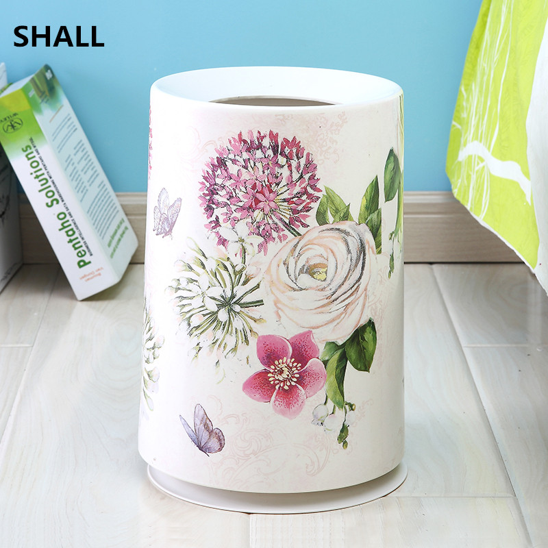 Shall Europe Melamine Round Trash Bin Garbage Can Sundries Storage Bucket Two Barrels Home Bedroom Parlor