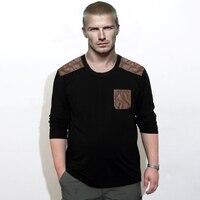 Frühling und Herbst Geld Lycra Baumwolle Kampf Leder Rundhals Große größe Langarm T-shirt Männlichen Fett zu Erhöhen Casual T-shirt