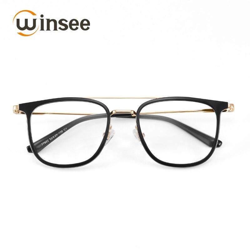 Winsee myopia glasses frame retro frame female frame male with myopia glasses metallic art tide