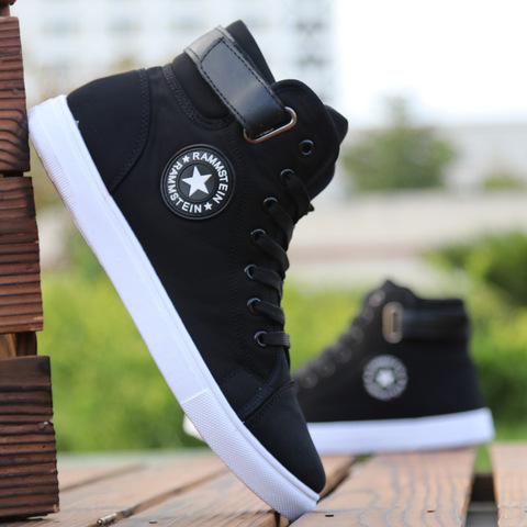 Mens High-top Canvas Shoes Men 2019 New Spring Autumn Top Fashion Sneakers Lace-up High Style Solid Colors Man Black Shoes KA853 Pakistan
