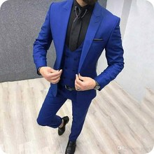 Royal Blue Mens Classic Wedding Suits Man Blazers Peaked Lapel 3 Piece Coat Pants Vest with Double Breasted Costume Homme Prom