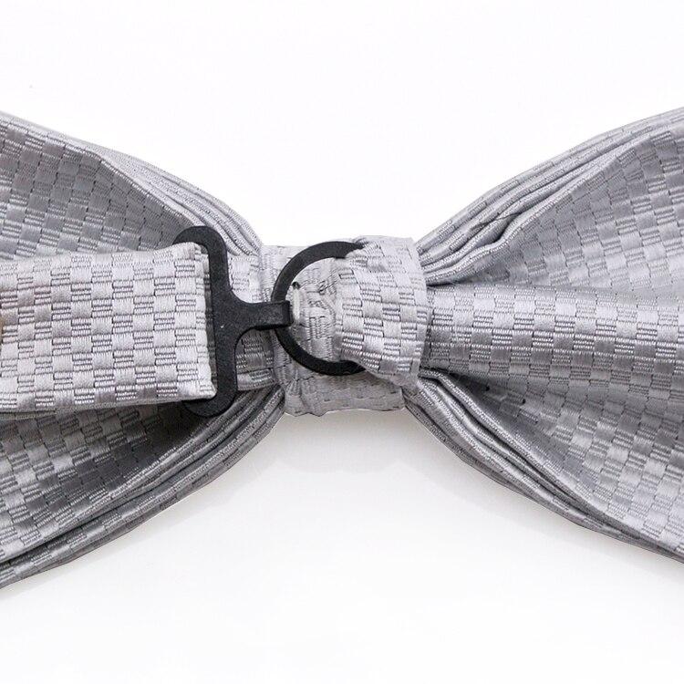 ac98ebc2ae452 الصلبة فحص الأبيض رمادي رمادي الفضة قبل تعادل سهرة ربطة القوس فيونكة رجل  الزواج ربطة القوس فيونكة s قابل للتعديل 100% الحرير العلامة التجارية ج.