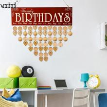 2018 New DIY Wooden Wall Hanging Calendar Birthday Reminder Board Plaque Special Dates Sign Planner Calendario Decoration Gift