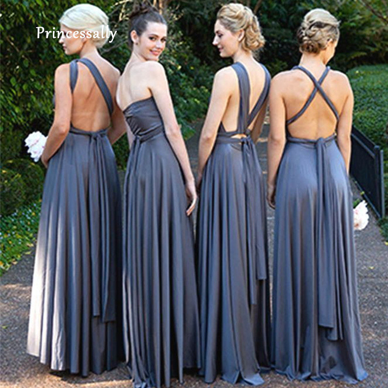 Robe De Soriee New Bridesmaid Dresses Covertible Grey Sage Orange Mismatched Prom Party Semi Fromal Beach Wedding Party Gown