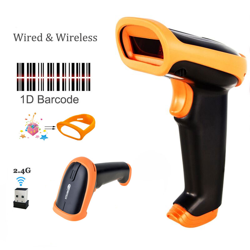 Wireless Barcode Scanner 2.4G 30m Laser Bar Code Reader Wireless/Wired For POS and Inventory -HW-S2 wireless barcode scanner bar code reader 2 4g 10m laser barcode scanner wireless wired for windows ce blueskysea free shipping