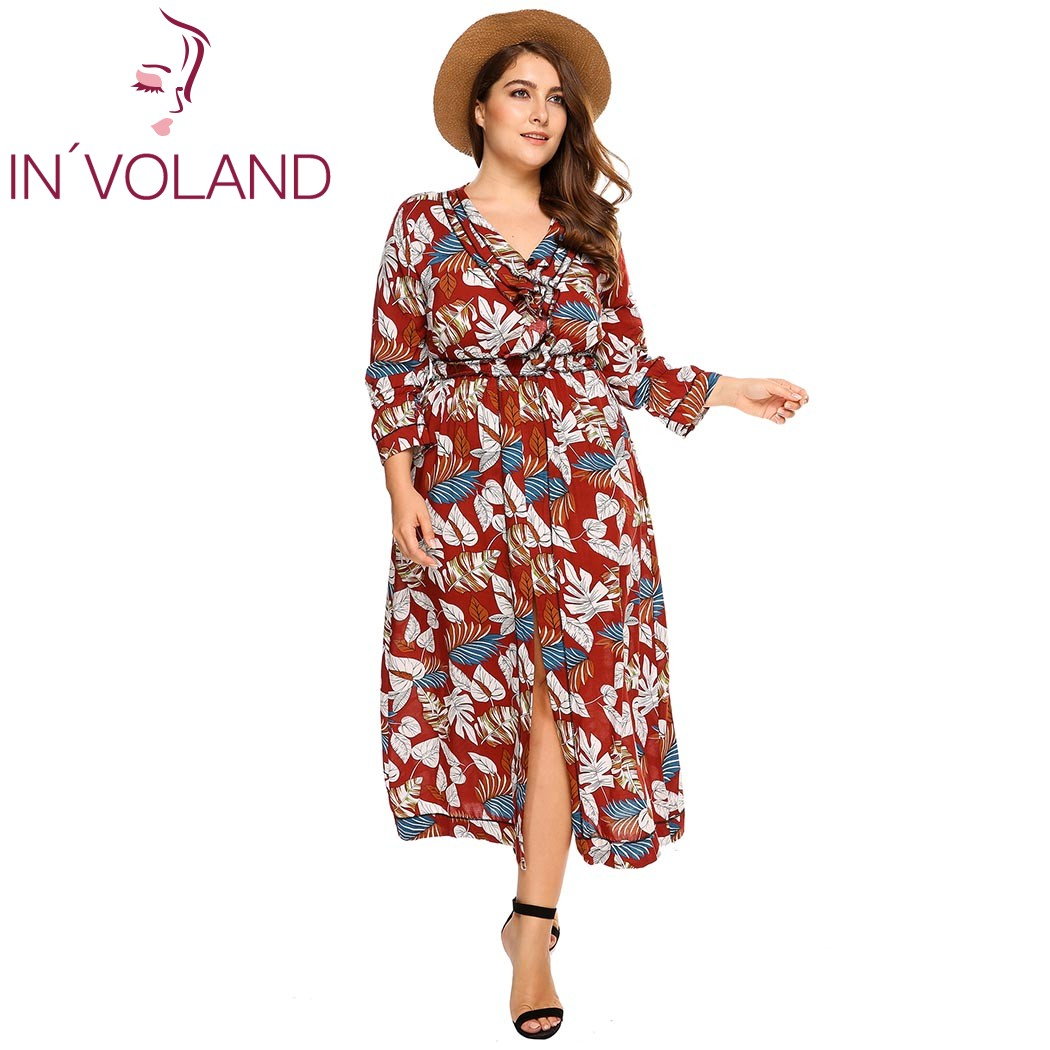 IN'VOLAND Femmes Imprimer Robe Plus La Taille Casual Manches Longues Col en V de Split Vacances Plage Maxi Robes Feminino Robes Oversize 4XL