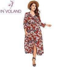 In'voland Для женщин платье с принтом плюс Размеры Повседневное с длинным рукавом V Средства ухода за кожей Шеи Разделение пляжный отдых Макси платья vestidos более Размеры 4xl