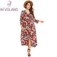 IN VOLAND Women Print Dress Plus Size Casual Long Sleeve V Neck Split Holiday Beach Maxi