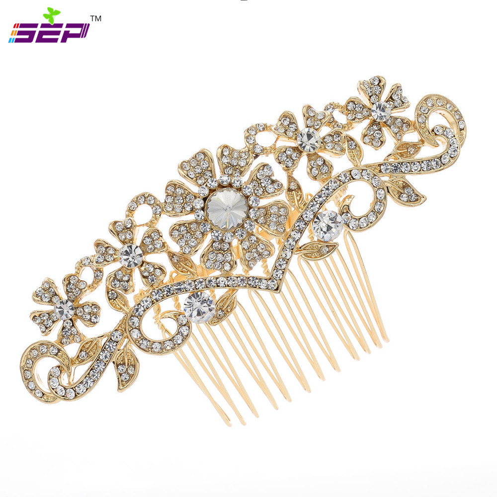 Rhinestone Crystals Vintage Style Bridal Hairpins Flower Hair Comb For Women Wedding Hair Clips Accessories 1448rgcl Flower Hair Comb Hair Combhair Comb Styles Aliexpress