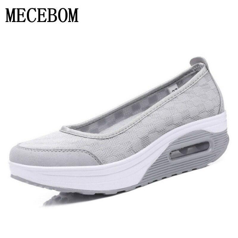 2017 mujeres del resorte de malla zapatos casuales las mujeres zapatos de plataf