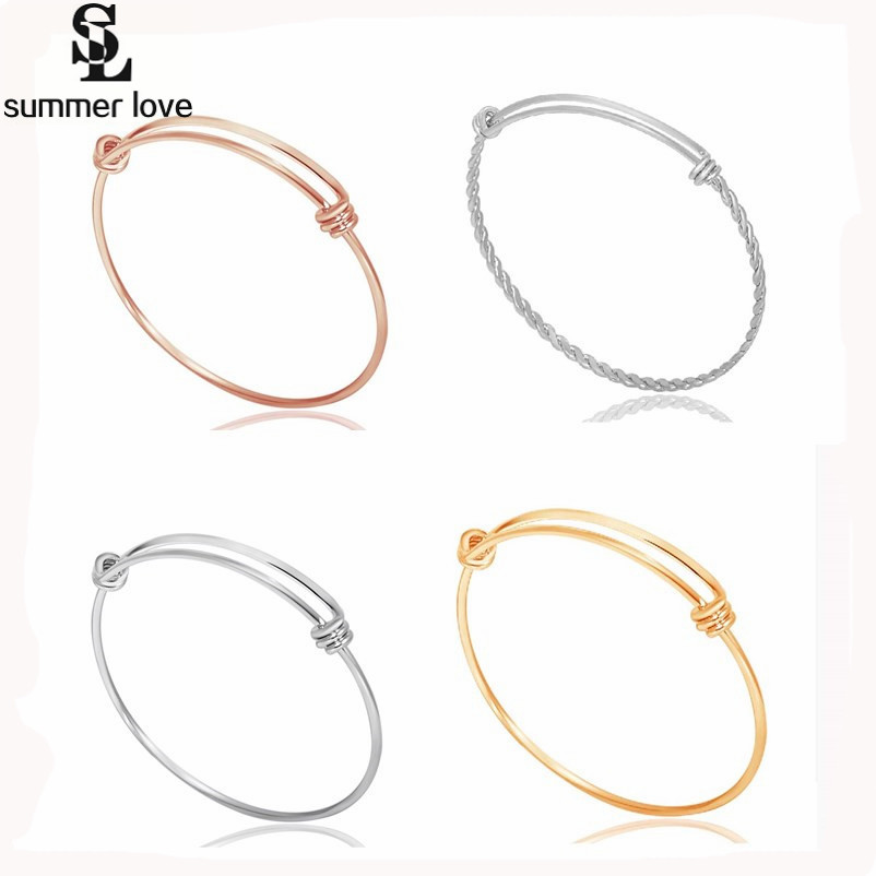 5 Designs Stainless Steel Wire Bangle Bracelet Adjustable Twisted ...