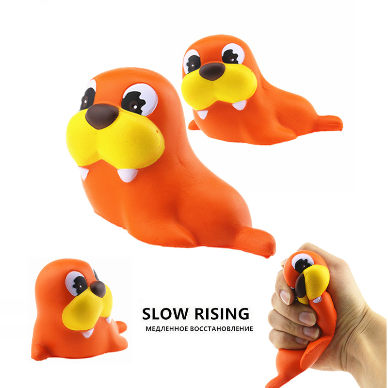 Soft Squishy Sea Lion Cute Kawaii Toy Jumbo Slow Rising For Children Adults Relieves Stress Anxiety Home Decor Props