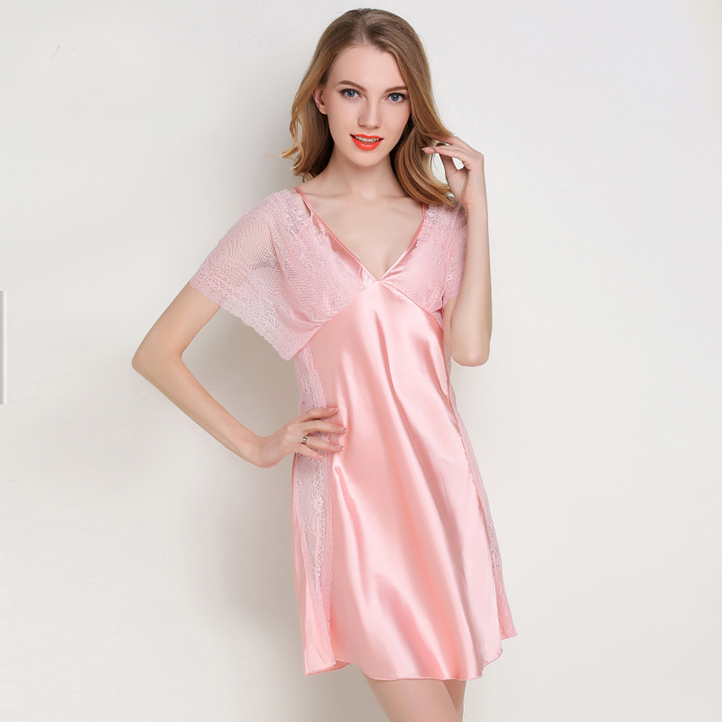 Ladies Sexy Silk Satin   Sleepshirt   Lace Night Shirt Short Sleeve   Nightgown   V-neck Night Dress Summer Home Dress For Women