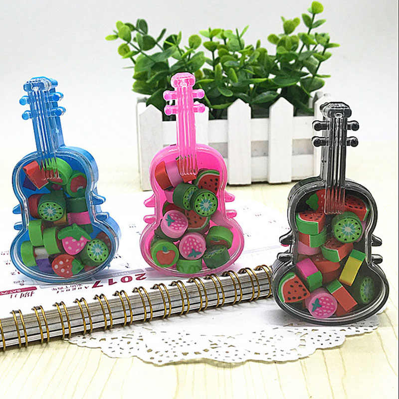 Guitar Box Straw Berry Eraser Kid Musical Stationery Gift Fruit Soft Rubber Eraser Cartoon 3D Pencil Eraser School Student Prize