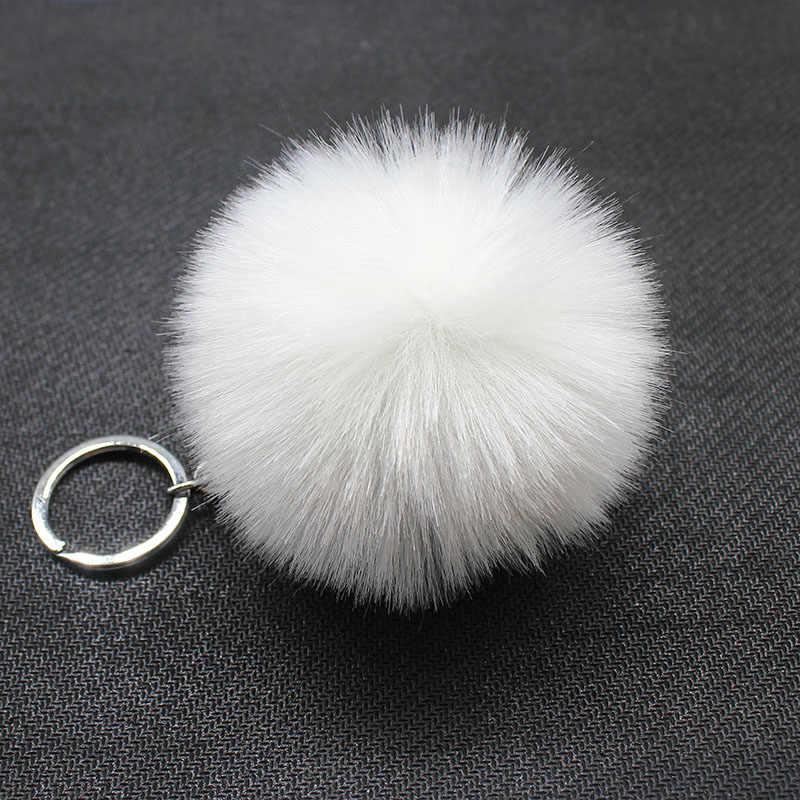 Moda bonito fofo pom pom bolas chaveiros para mulheres meninas bolsa carros 8cm pompom prata chaveiros de pele de coelho falso jóias