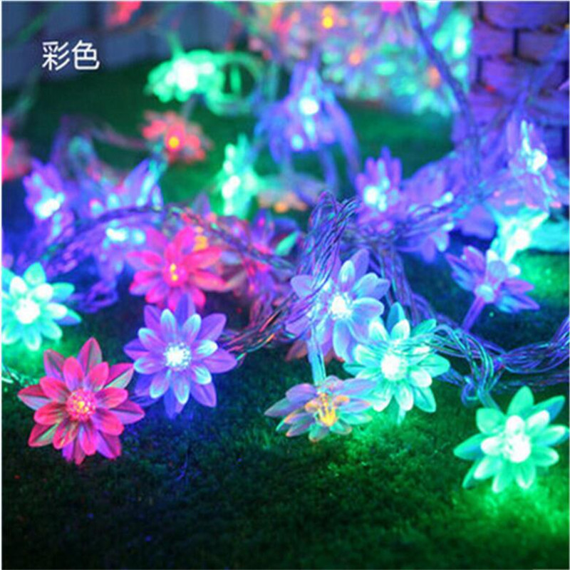 5M 28led Lotus Flowers LED String Garland Light 220V EU Fairy Christmas String Light For Wedding Holiday Party Garden Home