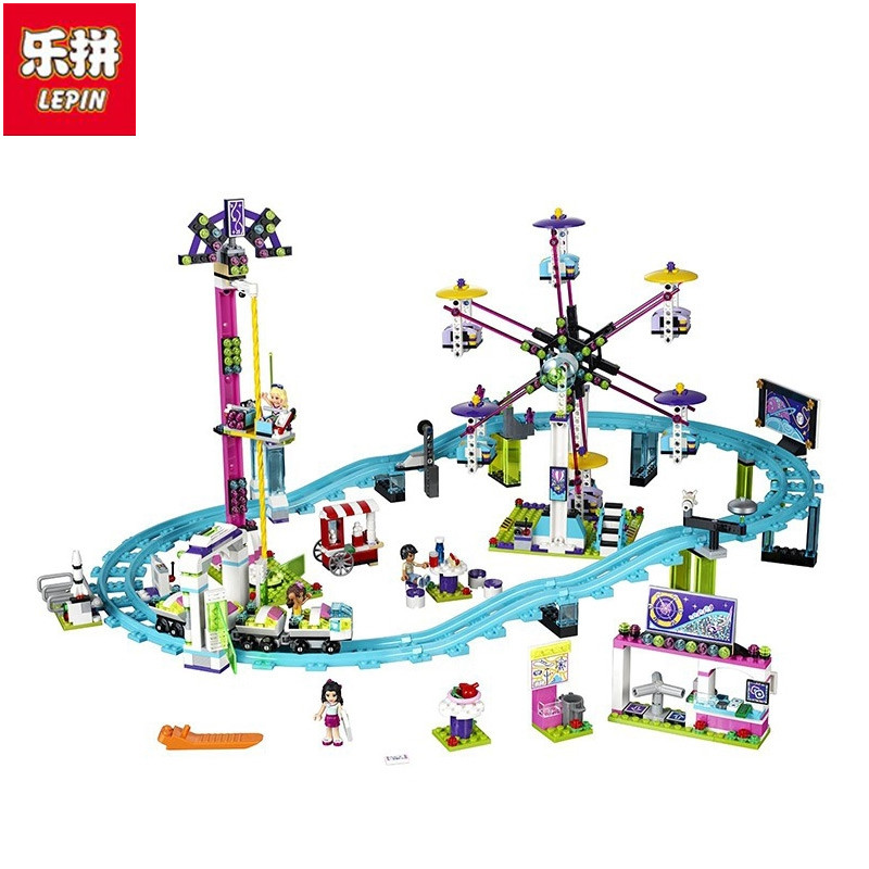 Lepin Free shipping 01008 1124Pcs Friends Amusement Park Roller Coaster Building Block Kits figures Blocks Bricks Toys loz friends motor building blocks roller coaster diy model rotary swing toys battery bricks amusement park blocks technic 2027
