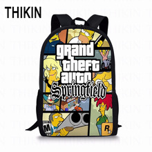 THIKIN Simpson GTA Printed High School Backpacks for Boys Girls Anime Children Bags Womens Casual Daypacks Mochila