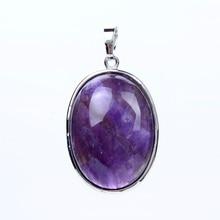 Простой Овальный посеребренный пурпурные аметисты розовый кварцевый кристалл лазурит натуральный камень кулон для ожерелья модные украшения