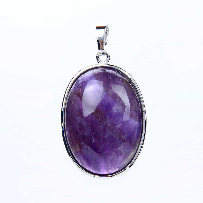New Simple Oval Silver Plated Purple Amethysts Rose Pink Quartz Lapis Lazuli Natural Stone Pendant for Necklaces Fashion Jewelry