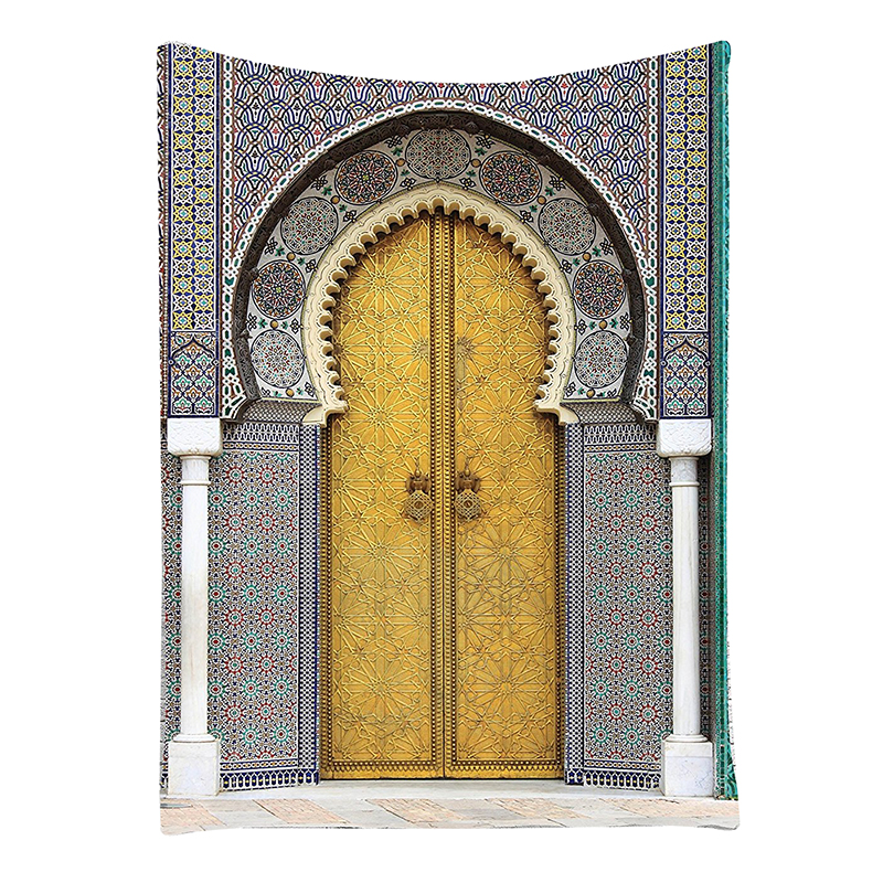 Arabian Decor Collection, Golden Door of Royal Palace in Fes Morocco Vintage Moroccan Artwork Picture, Bedroom Living Room Dorm