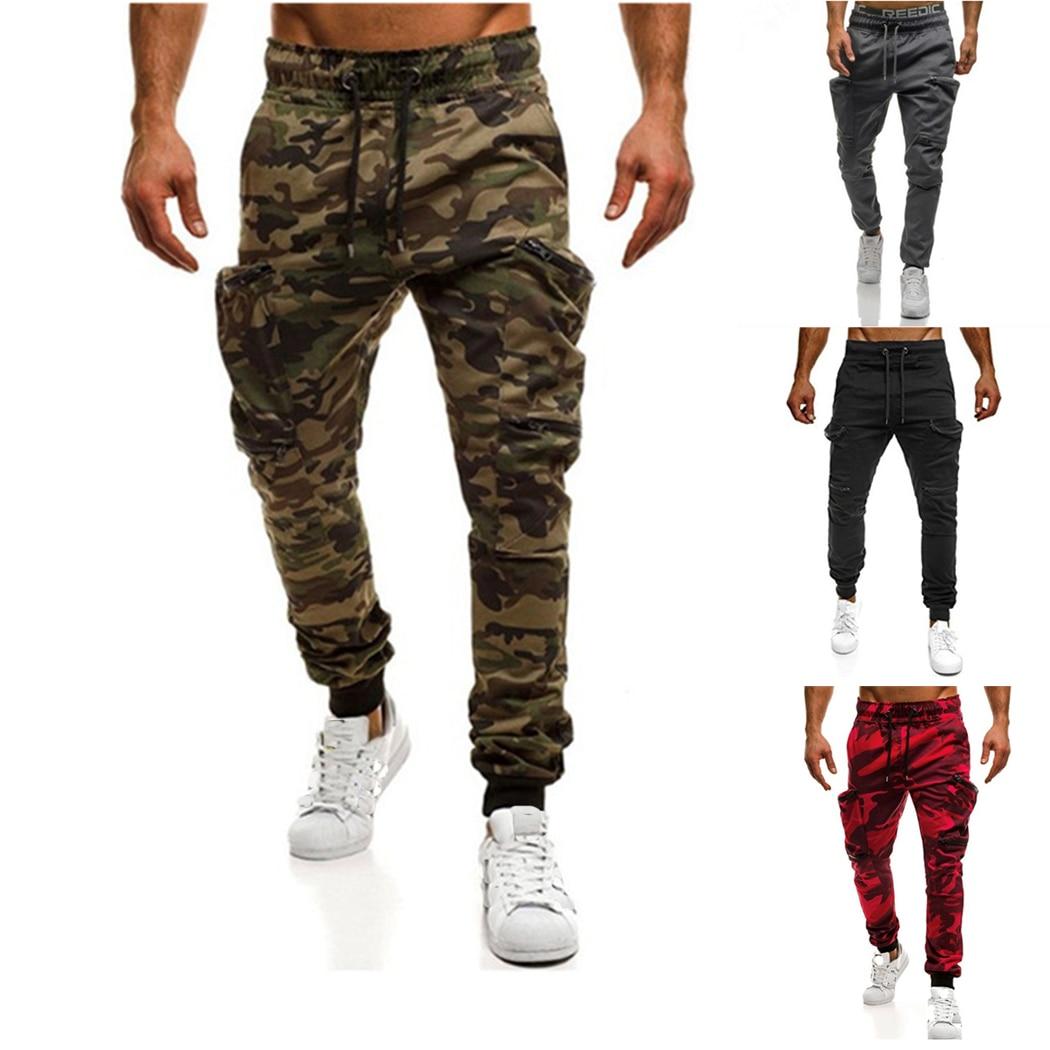 2018 Mode Männer Camouflage Cargo Hosen Militärische Taktische Fitness Jogger Casual Tasche Zip Hüfte Hop Jogginghose 3xl Männliche Hosen Exzellente QualitäT
