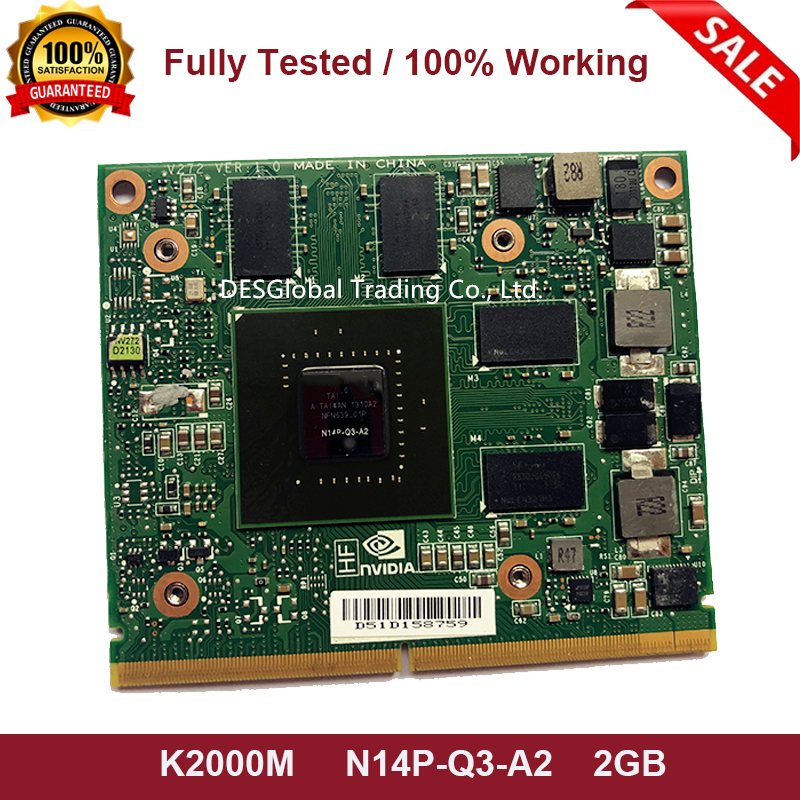 Original K2000M K 2000M N14P-Q3-A2 Graphic Video Card 2GB For Dell Precision M4700 M4800 HP Elitebook 8560W CN-0D30WG 100% Test