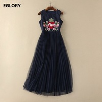 New Long Dress Vintage Party Evening Women Sweetheart Love Embroidery Beading Mesh Patchwork Dark Blue Maxi