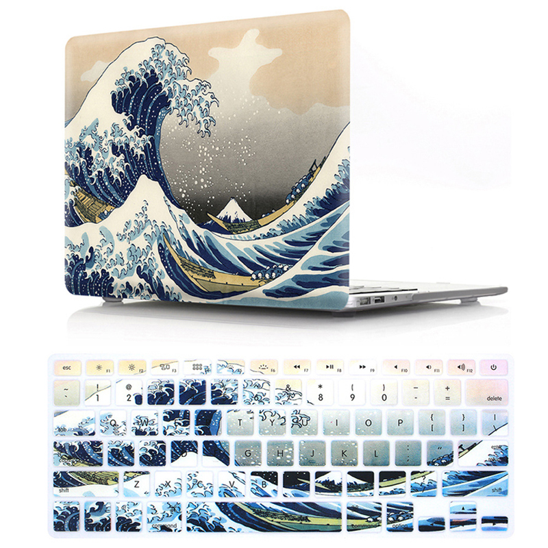 HD Pattern Laptop Hard Case For MacBook Air Pro Retina 12 13 15 15.4 13.3 Inch With Keyboard Cover For Air 13 A1466 A1932 2018