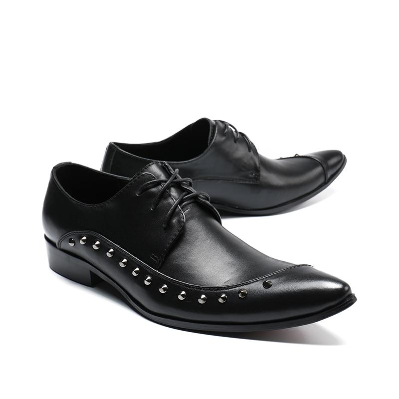 bc71a7277a Up Negocios Cuero Boda Zapatillas Formal Auténtico Zapatos Remaches As  Negro Pico Pisos Hombres Vestido Encaje De Oxford Pics Hombre vqaCOxpw