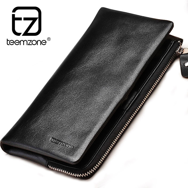 Designer High Quality Famous Brand Men's Genuine Leather Long Zipper Wallet Business Casual Men Large Capacity Solid Clutch Bag zuoyi crocodile leather original zipper snap multifunctional in large capacity and long wallet