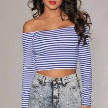DoreenBow New Striped Slash Neck Blouse Cotton Fashion Women Summer Long Sleeves White Blue Shirts One Sizes, 1 Piece
