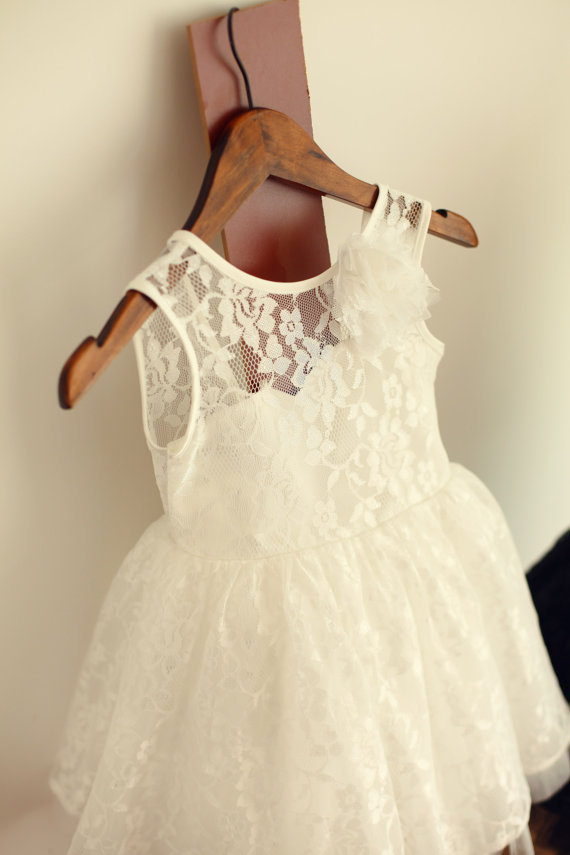 ivory black lace tulle flower girl dress junior bridesmaid dress for wedding baby girl toddler kids