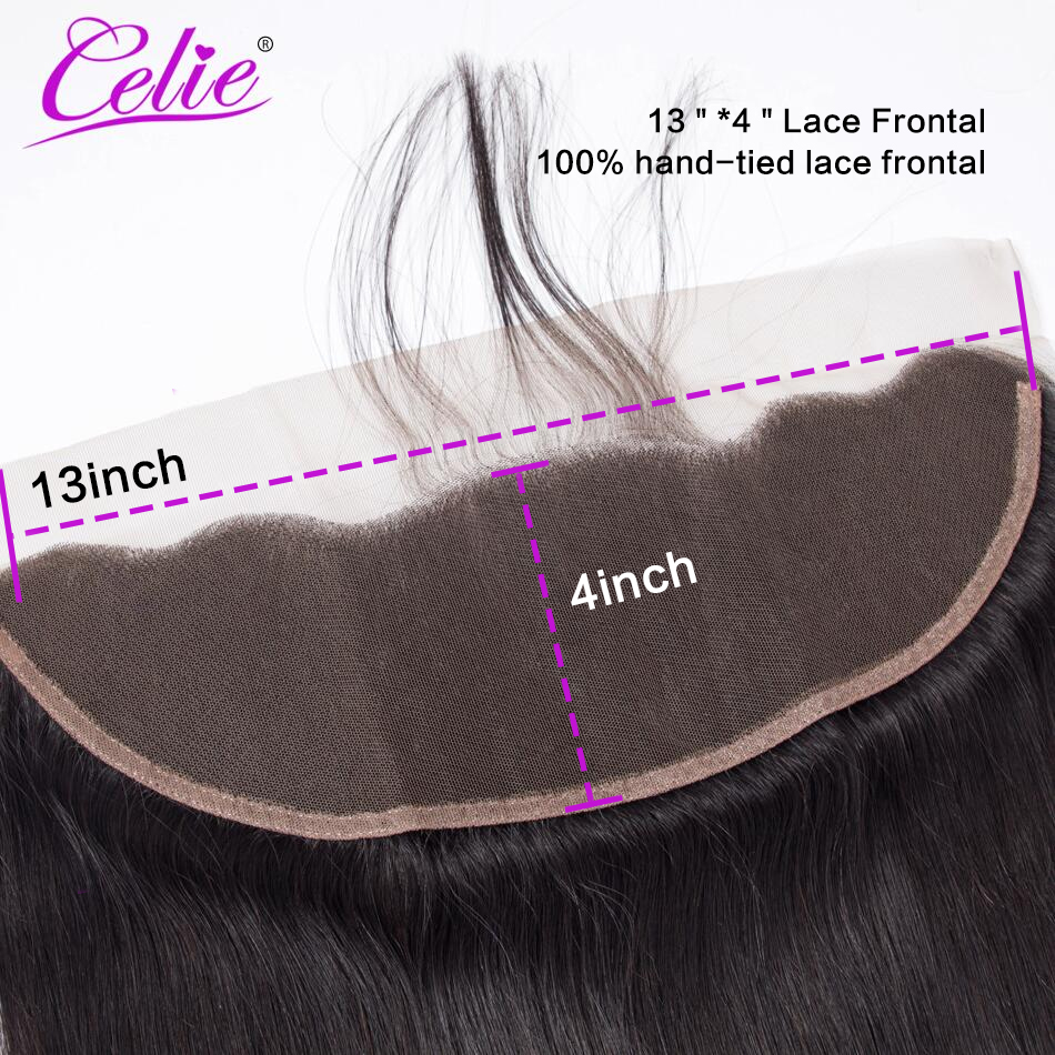 Celie Brazilian Straight Hair HD Transparent Lace Frontal Closure 8-22 inch Swiss Lace Frontal Human Hair Closure Ear To Ear