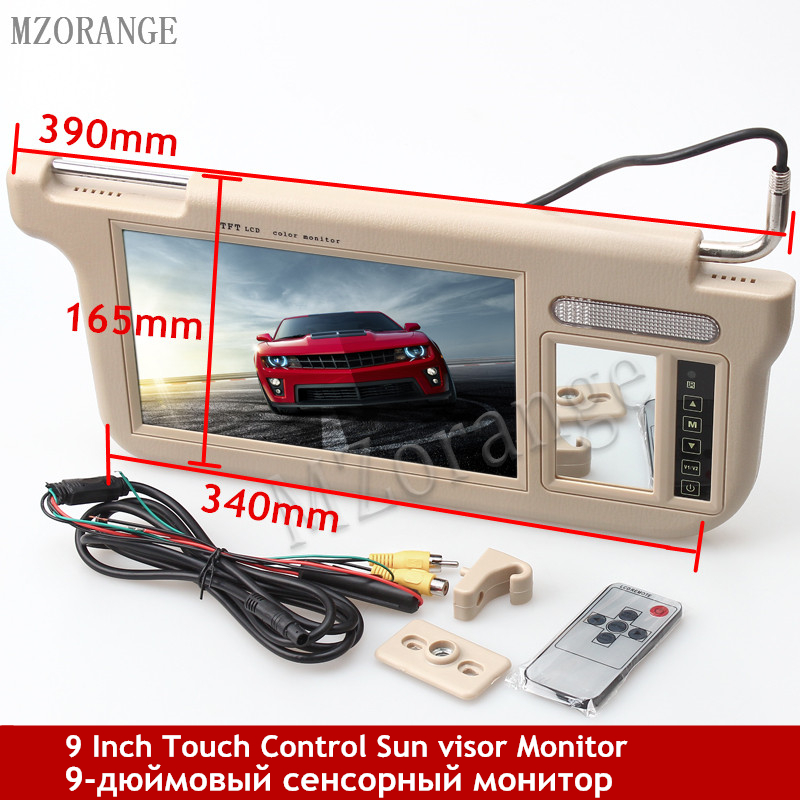MZORANGE Left or Right 9 Car Sun Visor Monitor 2 Channel Video 800 x 480 Resolution for DVD Player and Car Rearview Camera mzorange new 1 pair left